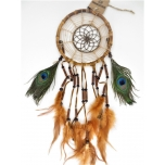 Bamboo dreamcatchers with peacock feathers and beads 17cm