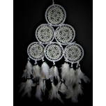 Crocheted dreamcatcher white pyramid 15cm